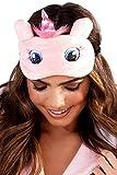 Loungeable Boutique Niedliches Tier Flaumig NEUHEIT Schlaf, Augenmaske, Augenbinde mit 3D Ohren, Einhorn, Kuh, Pinguin, Eisbär, Französische Bulldoge oder Rentier - pink Einhorn, One size