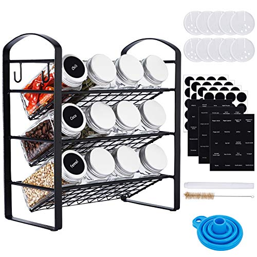 CUCUMI Spice Rack with 12pcs 4oz Empty Glass Spice Jars Square Glass Spice Bottles with 120pcs Waterproof Labels 1pcs Silicone Collapsible Funnel Test Tube Brush Chalk Marker for Countertop Cabinet