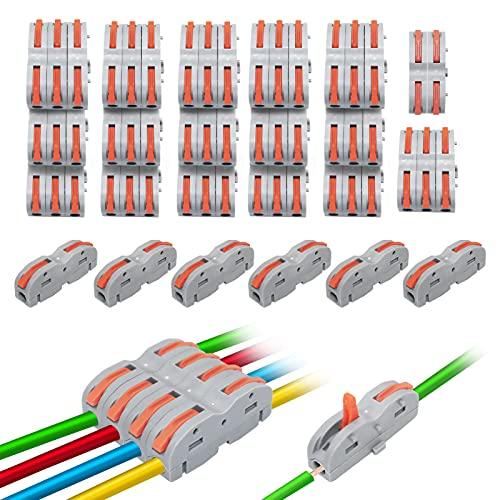Bornes de conexión con palanca, 50 unidades, bornes de conexión para todos los tipos de conductores