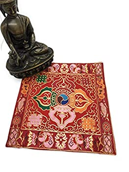 Tibetan Buddhist red Double dorje Silk Brocade Table Cover/Altar Cloth/Shrine Cloth/Cover/placemat