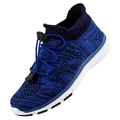 Knixmax - Zapatillas Deportivas Interior para Niños y Niñas, Zapatillas de Running Sneakers Zapatos de Correr Aire Libre Deportes Casual Zapatillas Ligeras para Correr Transpirable, Azul EU 34