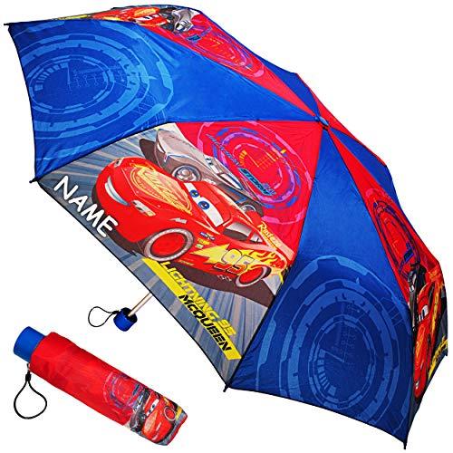 alles-meine.de GmbH Taschenschirm / Kinderschirm -  Disney Cars / Lightning McQueen - Auto  - inkl. Name - ø 92 cm - großer Regenschirm / Erwachsenenschirm - für Jungen / Mädch..