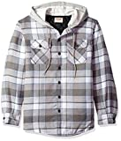 Wrangler Authentics Men's Long Sleeve Quilted Line Flannel Jacket with Hood, Cloud Burst with Gray hood, L