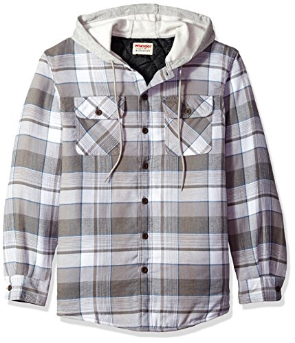 Wrangler Authentics Men's Long Sleeve Quilted Line Flannel Jacket with Hood, Cloud Burst with Gray hood, M