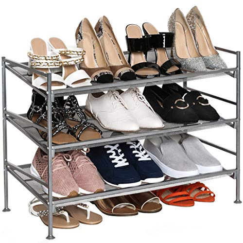 tall shoe storages Seville Classics Sturdy Freestanding Storage Shelf for Bedroom, Closet, Entryway, Dorm Room Organizer 3-Tier Stackable 12-Pair Multi-Position Adjustable Metal Shoe Rack, Satin Pewter Mesh