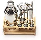 Fulinmen Conjunto de cócteles-12PCS Kit de Barras Estante de Madera para Bartending Tool Cocktail Blender
