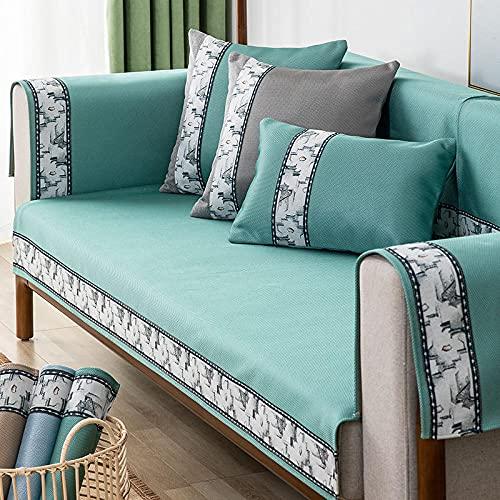 KENEL Dauerhaft Sofa Überwürfe Cover, Sofa Sesselschutz Sommereiseide Cooles Matte Gurtband Sofakissen-70 * 180 cm_Grün-Verkauft in stück