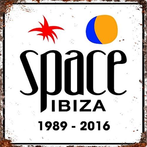 Placa de metal para pared de publicidad vintage, grande, cuadrada, 20 x 20 cm, diseño de pub, bar, cueva, hogar, dormitorio, oficina, cocina, regalo – Space Nightclub Club Music Bossa Ibiza