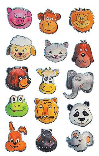 AVERY Zweckform 53157 Kinder Sticker Tierköpfe (3D Effekt) 15 Aufkleber