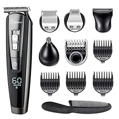 HATTEKER Hair Clippers Beard Trimmer for Men Hair Trimmer Cordless Grooming Kit Haircut Kit for Men Kids Adults Upgrade Hair Trimmer with LED Display USB Rechargeable Wet & Dry by HATTEKER