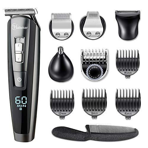 Hatteker Beard Trimmer Hair Clipper Hair Trimmer Clippers for Men Cordless Haircut Kit for Men Kids Adults LED Display USB Body Trimmer Rechargeable Wet & Dry