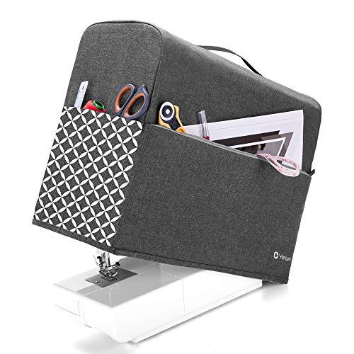 Yarwo Funda para Máquina de Coser, Cubierta para Máquina de Coser, Encaja para la Mayoría de Las Máquinas de Coser Estándar, Gris con Patrón Ovalado