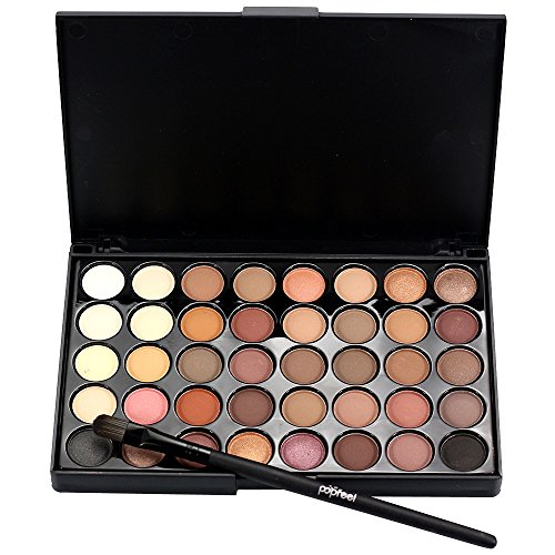 Cosmetic Matte Eyeshadow Cream Makeup Palette Shimmer Set 40 Color+ Brush Set (Deep Color)