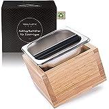 Tooltastic Abklopfbehälter für Siebträger - aus Echt-Holz und Edelstahl - DIN genormt - Kaffee-Satz Abschlagbehälter - Barista Coffee Knock-Box - robust, gedämpft