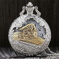 懐中時計クールホロウシルバーゴールデン機関車クォーツデザイン懐中時計ネックレスチェーン付き女性Memへのギフト