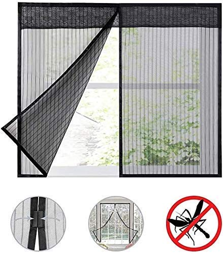 Malla Cortina de Puerta Magnet Magic Screen Net - Window Net Malla Screen Room Cortinas Net Curtain Screen Protector (Color: Negro)