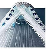 OldPAPA Moskitonetz, Betthimmel Deko Baldachin Moskitonetz Kinder Prinzessin Spielzelte Dekoration für Kinderzimmer, mit Sternen Dekoration 60 * 300cm (Blau) - 3