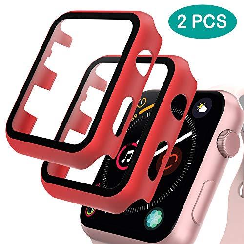 GeeRic 2PCS Pellicola Vetro Temperato Compatibile per Apple Watch 42mm Serie 3/2/1 HD Cover Resistente Urti Pellicola Copertura Completa Custodia Compatibile per Apple Watch 42mm Serie 1/2/3 Rosso