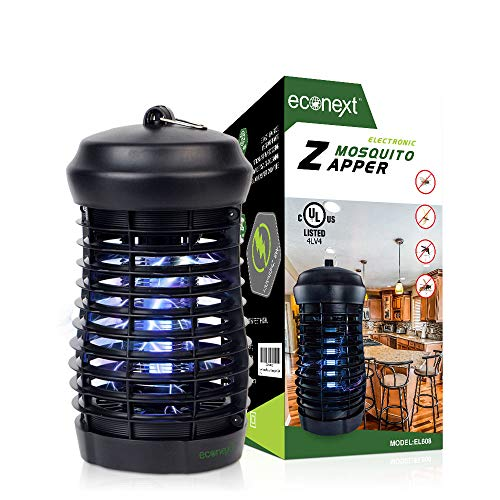 Econext UL Approved Electric Bug Zapper Insect Killer, Mosquito Eradicator Lamp, Fly Trap Indoor 8W UV Light w/Extra Long 5' Power Cord - High Electric Zapping Grid