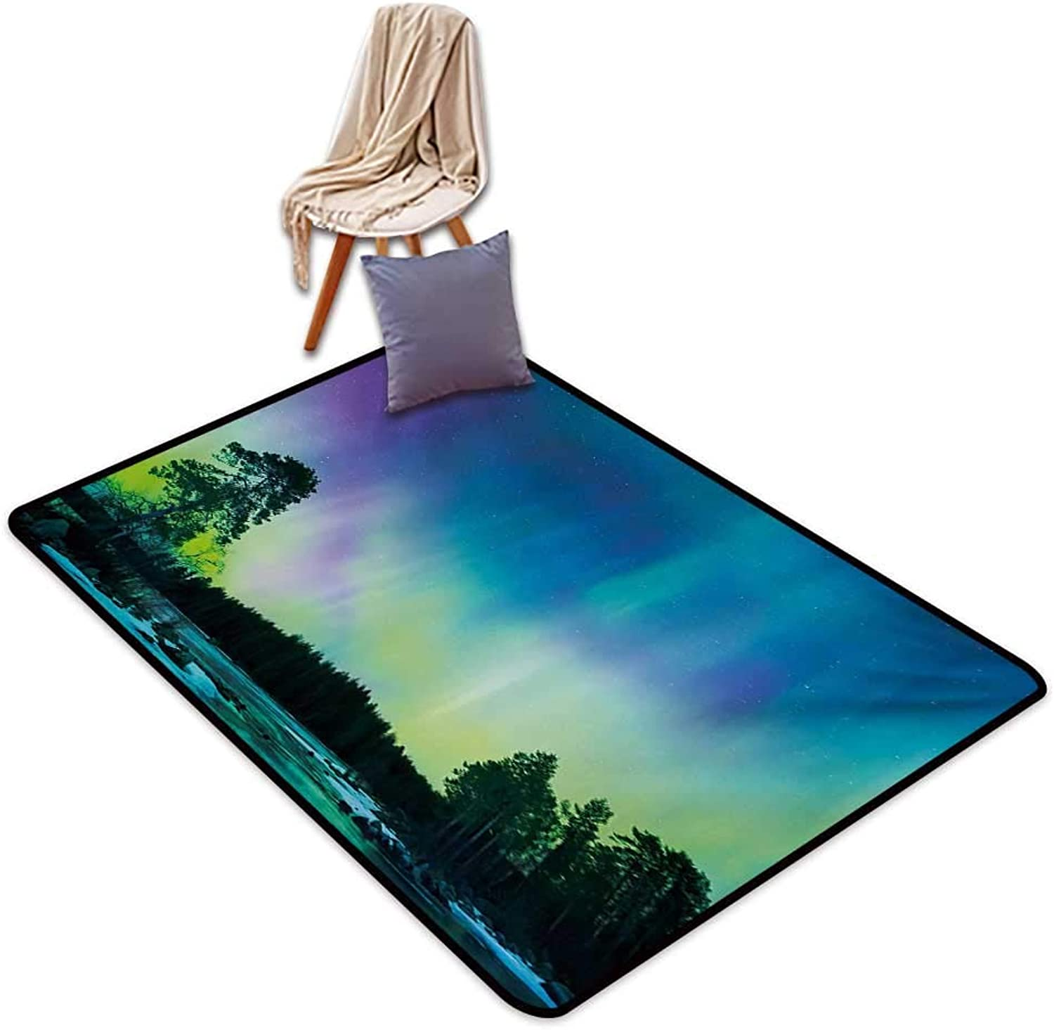 Aurora Borealis Entrance Door mat Sky Over Lake Surrounded Forest Woods Hemisphere Print Water Absorption, Anti-Skid and Oil Proof 48  Wx59 L purple bluee Lime Green Purple
