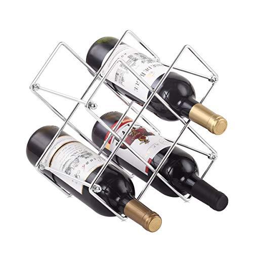 Buruis Countertop Wine Rack - 6 Bottle Wine Holder for Red White Wine Storage - Freestanding Metal Wine Rack - Small Tabletop Wine Rack - Modern Wine Bottle Holder (6 Bottle Silver)