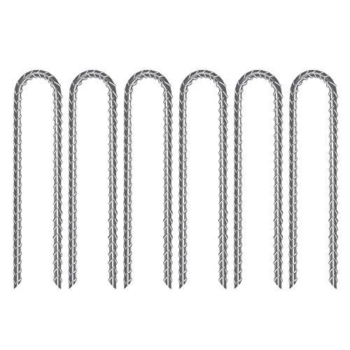 AGPTEK Juego de 6 estacas de hierro en forma de U, de acero galvanizado, para cama elástica, resistente al viento, para anclaje de jardín, para tienda de campaña