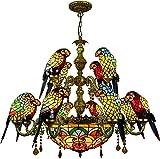 Lámpara de techo colgante estilo Tiffany, estilo vintage Tiffany, cristal tintado antiguo, colgante de cristal de acabado ajustable, para salón, dormitorio, hotel, 12 luces, 6 luces A