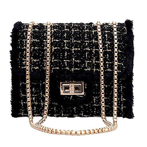Damen Abendtasche Glitter Clutch Hochzeit Schultertasche Elegante Handtasche Weibliche Kette Square Bag Casual Samt Umhängetasche Lock Diagonal Cross Bag (Schwarz)