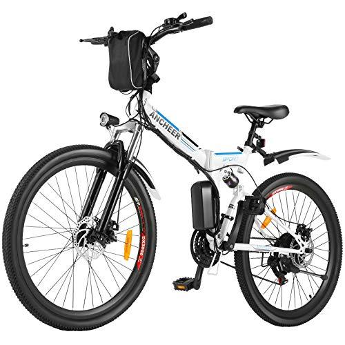 ANCHEER Bici Elettriche 26' per Adulti, Bici Pendolare Elettrica Pieghevole con Motore 250W Batteria al Litio 36V 8Ah Cambio a 21 Velocità (Avventura-Bianca)