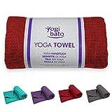 Yogibato Yoga Handtuch rutschfest & schnelltrocknend – Yogahandtuch Antirutsch – Mikrofaser Yogatuch – Non Slip Yoga Towel [183 x 61 cm] Bordeaux