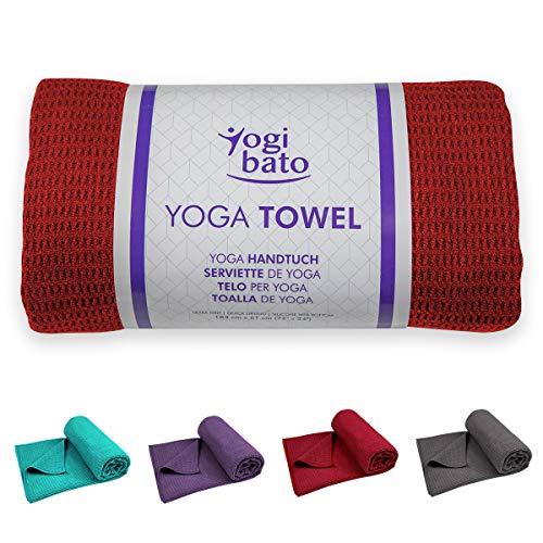 Yogibato Yoga Handtuch rutschfest & schnelltrocknend – Yogahandtuch Antirutsch – Mikrofaser Yogatuch – Non Slip Yoga Towel [183 x 61 cm]...