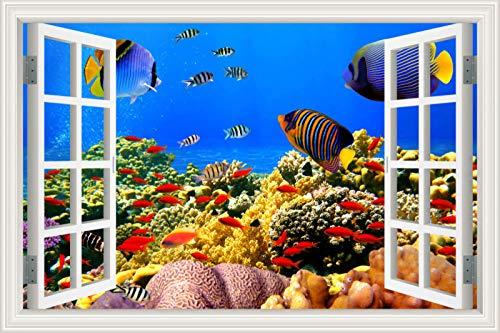 Adesivos 3D,Adesivos Falsos De Parede De Janela Com Efeito De Mundo Subaquático,Adesivos De Decoração De Quarto De Casa Em Casa,Mural De Parede 60 * 90Cm(24 * 36Inch)