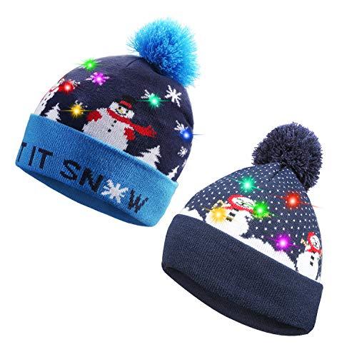 TAGVO 2 Pièces LED Light Up Bonnet Chapeau Beanie Hat Knit Cap, 6 LED Coloré Noël Tricoté Chapeau,Hiver Chapeau Lumineux Casquette Unisex Neige Chapeau Chaud Souple pour Vacances Fête