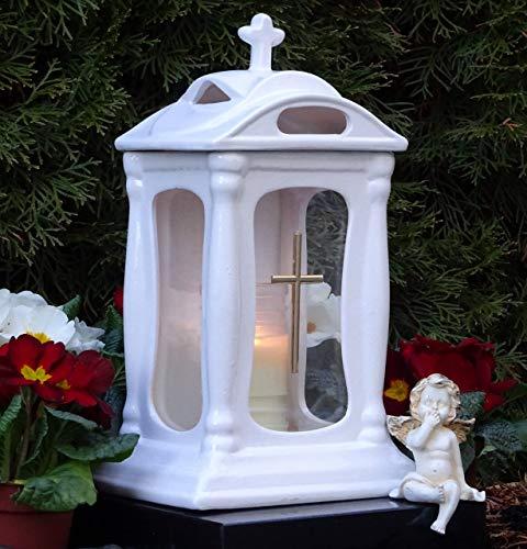 ♥ Grablaterne Grablampe Keramik Glas Kreuz 30,0cm mit Grabkerze Grabschmuck Grableuchte Grablicht Laterne Kerze Lampe Licht