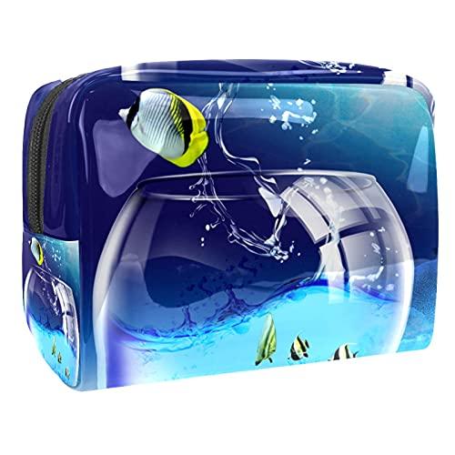 Bolso cosmético del Maquillaje Taza de Pescado Bolsa de Viaje organizadora Impermeable de Gran Capacidad para señoras perezosas 18.5x7.5x13cm