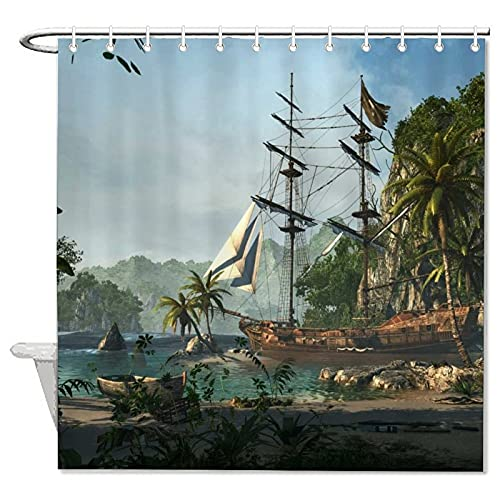 Tropics Ships Sailing Boats Assassins Creed Personalized Bath Curtain, 72x72 Inch Shower Curtain,Bathroom Decor for Bathroom with 12 Hooks for Father's Day,Mother's Day.