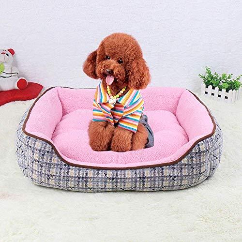 YLCJ Huisdier Hond Bed Orthopedische chaise longue Sofa stijl woonkamer Hoekbank Bank voor kleine en middelgrote honden met stijf ademend katoen voor katten (Kleur: wit, Afmetingen: 42 * 32 * 15 cm), 42*32*15cm, roze