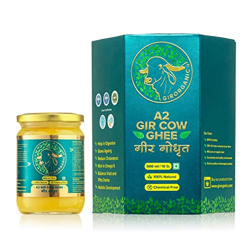 100% Organic Grass fed Ghee Butter from GirOrganic - 500 ml glass jar of Premium quality A2 Gir Cow cultured ghee. Pasture raised, Non-GMO, lactose - Casein - gluten free. Delivered in 5 - 8 days.