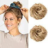 Moonshow Messy Bun Hair Piece Hair Bun Extensions Wavy Curly Messy 2PCS Tousled Updo Messy Hair Bun Scrunchies for Women Thick Hair Piece Scrunchies Updo Curly Bun Extension Synthetic Chignon Hair Pieces for Girls (Honey Blonde)