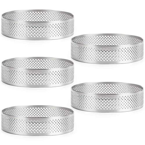 FANGSUN Set of 5 Round Tart Ring, Stainless Steel Heat-Resistant Perforated Cake Mousse Ring