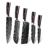 Juegos de cuchillos cocina Mango de acero inoxidable 5PCS Damasco del cuchillo de cocina de alta calidad de Sharp japonesa cocinero cuchillo de carnicero de madera Cocina Cuchillos (Color : 5pcs)