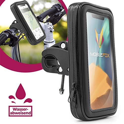 Preisvergleich Produktbild MOBILEFOX 360° Fahrrad Motorrad Lenkerhalterung Handyhalter wasserresistent für Samsung Galaxy J3 J7 Schwarz - Handytasche mit Klemmhalterung