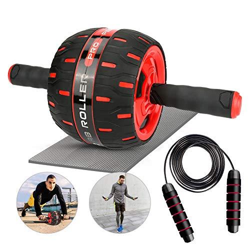 LINGSFIRE AB Roller Addominali, 2-in-1 Ab Roller Set AB Wheel Roller Addominali + Corda per Saltare, Fitness Allenamento della Forza Attrezzatura Sportiva