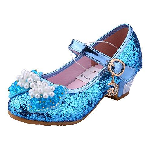 Tyidalin Niña Bailarina Zapatos de Tacón Disfraz de Princesa niña Princesa del Otoño de las Lentejuelas de Prinavera para 3 a 12 Años Azul 36