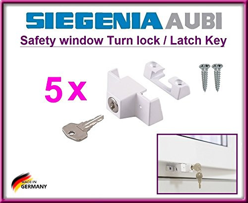 5 x SIEGENIA 880906 Sicherheitsschlösser / Schloss. 5 Stück hochwertige Sicherheitsschlösser zum Schutz der Kinder vor dem Öffnen des Fensters (inklusive 4 Montageschrauben).