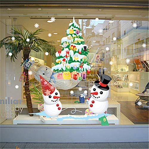 Wandstickers Wandsticker Wandtattoos Weiße Schneemannfarbe Der Weihnachtsshop-Fensteranzeige Weihnachtsbaum-Wandaufkleber
