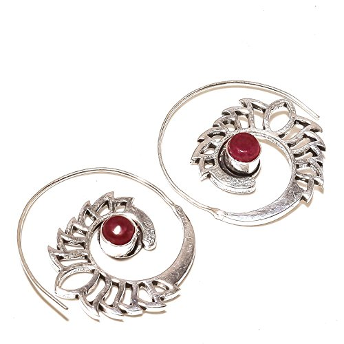 Best Match! Red Dyed Ruby Gems! Circular EARRING 1.5' Long, Woman's! Silver Plated, HANDMADE! Jewelry From Shivi!