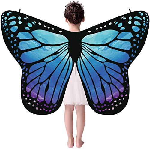 Andouy Damen/Kinder Schmetterlingsflügel Schal Nymphe Pixie Flügel Poncho Kostümzubehör für Party Weihnachten Cosplay(135X65CM.Blau-1)