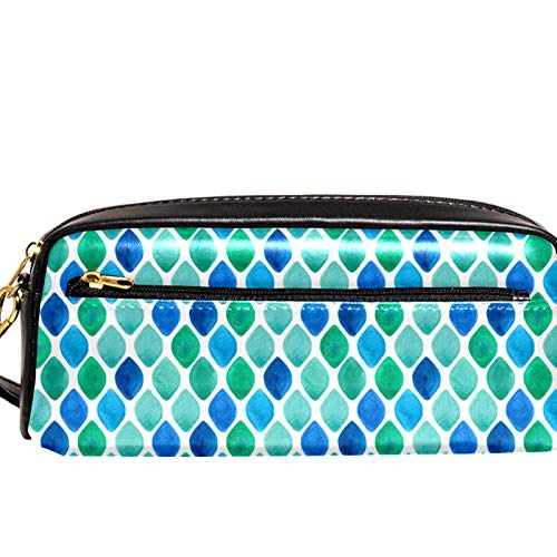 Yitian Abstract Cyan Diamond Pattern Pencil Case with Compartments Stationery Pouch Pen and Pencil Organiser Make-up Case for Children Girls for School