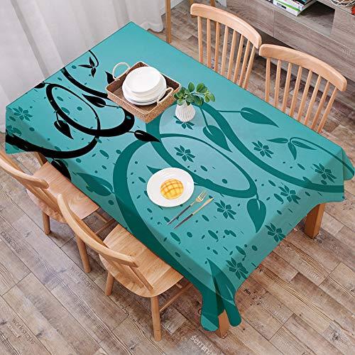 Mantel Antimanchas Rectangular Impermeable,Verde azulado, un arreglo floral abstracto Diseno de zarcillos de natural,Manteles Mesa Decorativo para Hogar Comedor del Cocina,(140 x 200 cm/55*78 pulgada)